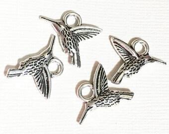 Bulk 50 pcs of antique silver hummingbird charm 18x14mm