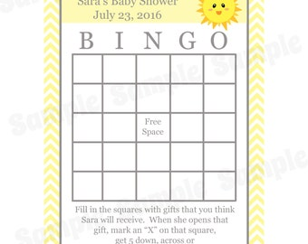 24 Personalized Baby Shower Bingo Cards  - You Are My Sunshine Baby Shower - Sunshine Bingo Cards - Sunshine Baby Shower- Sunshine Game