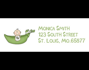 30 Return Address Labels - Baby Shower - Sweet Pea