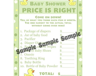 24 Personalized Baby Shower Price is Right Game Cards  - Rubber Ducky - Rubber Duck Price Is Right Game - Gender Neutral Colors