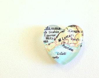 NEW Vintage Map Magnet - Heart Shape - Positano Italy Amalfi Coast