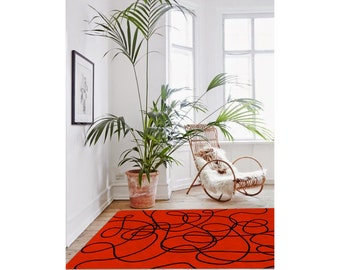 Rug, modern rug, contemporary rug, red carpet, doodle rug, living room decor, original rug, boyfriend gifts