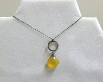Yellow Chalcedony Necklace, Oxidized Sterling Silver, Blackened Yellow Necklace, Circle Necklace, WIre Wrapped  by Maggie McMane Designs