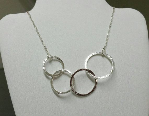Circles Necklace, 4 Hammered Fine Silver Circles, Links,  Sisters Necklace, Asymmetrical Necklace, Handmade Jewelry by Maggie McMane Designs