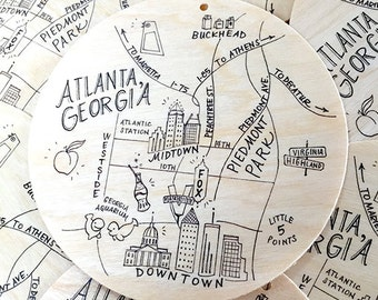 Birch Wood Atlanta, Georgia Map Ornament