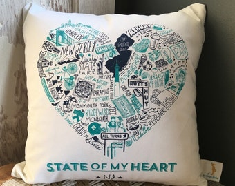 State of My Heart New Jersey Pillow