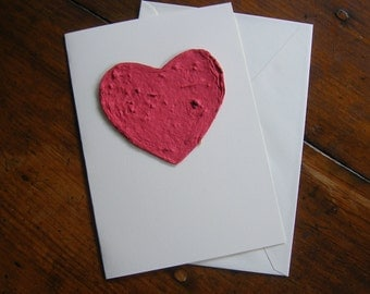 Sympathy card - Plantable paper heart on a greeting card - Sending love - Made of handmade paper & flower seeds - Pet sympathy - Seed paper