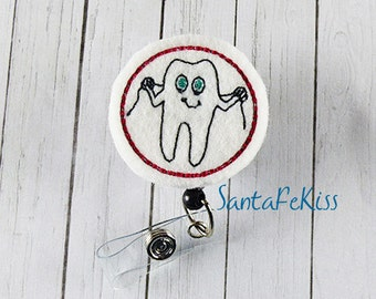 Dental Floss Tooth Badge Holder with Retractable Reel, Dental Badge Reel, Orthodonist Badge Holder, Lanyard Id Badge Holder
