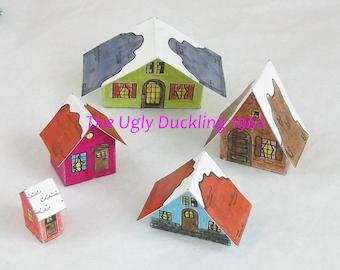 Make Your Own DIY Kit Vintage Putz Style Christmas Village Scene of 5 Sweet Little Houses Miniature Glitter Sugar Houses House Ornaments