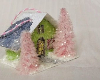Vintage Putz Style Miniature Farm House Green Glitter House Pink Pine Trees for Christmas Village Decor or Holiday Tree Decoration Ornament