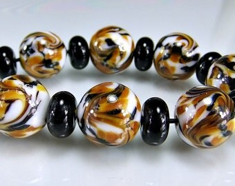 Lampwork Beads Black Brown Amber Round  Lampwork Beads Set SRA Glass Bea