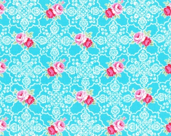 Aqua Rose Lace Tile 31377 70 Fabric by Lecien Flower Sugar Sweet Carnival