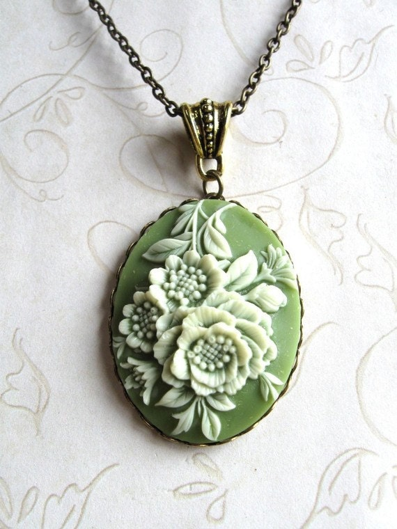 Green Cameo Necklace, long chain, sage green, large pendant