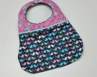 Cute Love Birds Pink and Black Arrows 3 Layer Girls Baby Bib