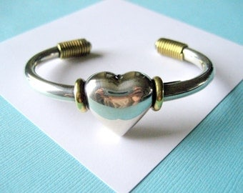 Sterling Silver and Brass Taxco Heart Cuff Bracelet