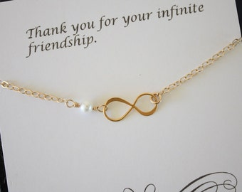 Gold Infinity Friend Necklace, Best Friend Gift, Infinite Necklace, Eternity Jewelry, White Pearl, Gold Necklace, BFF, Thank You Card