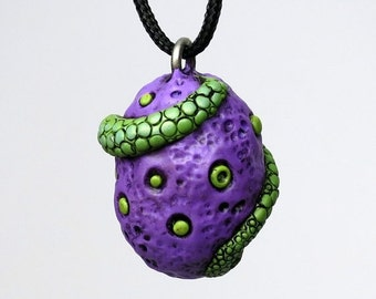 SUMMER SALE Super SALE! Dragon Egg Necklace, Polymer clay Dragon Tail