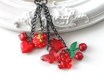 Red Kawaii Lolita cluster necklace kitsch original choker heart start strawberry