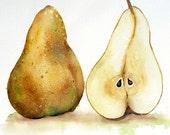 Yellow Pear Fine Art PRINT Pear Artwork Watercolor painting / Kitchen decor botanical art / Pear painting wall art decor fruit theme yellow