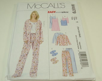 McCall's Misses Miss Petite Top, Camisole, Nightgown, Pants And Slippers Pattern M4979 Size Extra Small  - Small - Medium