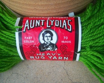Original AUNT LYDIA'S heavy rug yarn / Grass Green #615 / for hook rug, punch needle, heavy crochet, knit, macrame