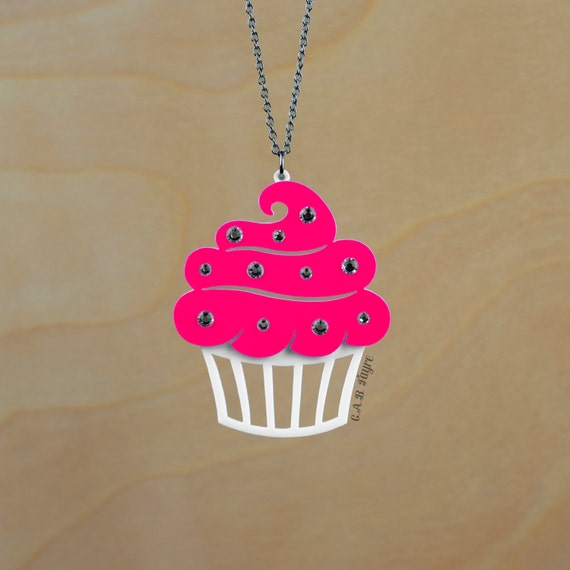"CLEARANCE SALE - Sparkle Cupcake Necklace - LARGE 2.5"" - Acrylic Laser Cut Necklace (C.A.B. Fayre Original Design)"