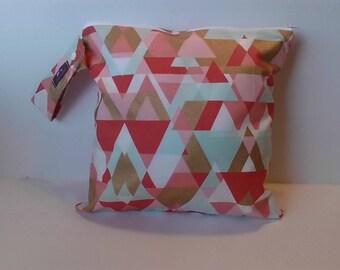 Wet Bag For Cloth Diapers,Wet Bag, Cloth Diaper Wet Bag, Diaper Bag,Cloth Pads, Triangle Peach and Gold Aqua