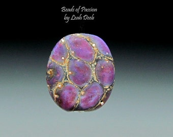 Handmade Lampwork Glass Bead Focal - 1 Striated Purple Scale Focal