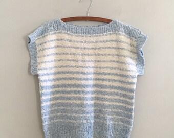 Blue stripe sweater boxy short sleeve sweater boat neck top