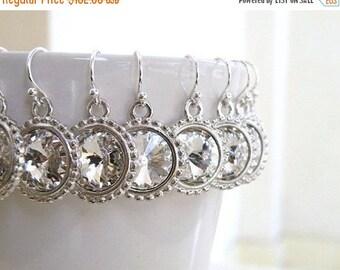 Clearance SALE Swarovski Earrings Crystal Rivoli Sterling Silver Set of 6