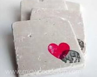 Buffalo love stone tile travertine coasters set of 4