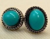 Vintage Turquoise Post Earrings, Retro Antique Silver Blue Earrings, Turquoise Blue Stud Earrings, Vintage Post Earrings (E47)