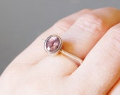 Modernist Sterling Silver Ring with Amethyst Stone Vintage Signed Dezan 70s