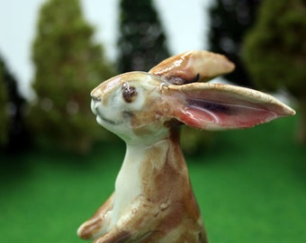rabbit figurine -  tall standing bunny - porcelain sculpture