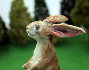 rabbit figurine -  tall standing bunny - porcelain sculpture