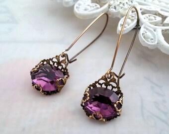 Glass amethyst earrings, Art Deco earrings, brass filigree earrings, purple earrings, Czech vintage glass dangle earrings, drop earrings