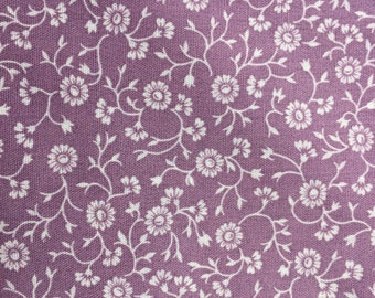 1 1/3 Yards of Vintage Pacific OTC Lavender and Cream Floral Print Cotton Blend Fabric
