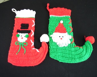 Pair of Vintage Hand Crochet Red and Green Snowman and Santa Claus Christmas Stockings