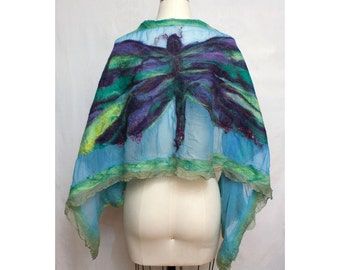Nuno Felted Dragonfly Shawl on Silk Art to Wear