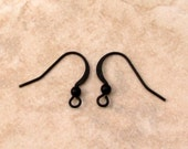 Flat French Ear Wire with Ball, Matte Black, 12 Pc. MB62
