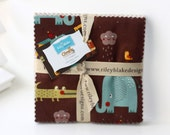 SALE 5 inch charm fabric squares GIRAFFE CROSSING 2 by Riley Blake