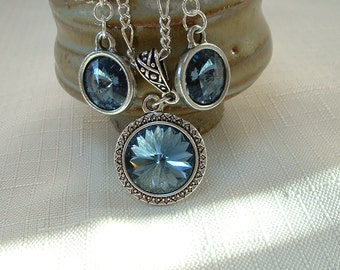 Montana Blue Swarovski Crystal Necklace and Earring Set