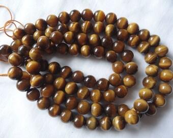 "16"" Strand Natural Tigereye 8mm Round Stone Beads A733"