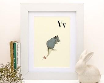 V for Vole - 4x6 - Alphabet art - Alphabet print - ABC wall art - ABC print - Nursery art - Nursery decor - Kids room decor - Children's art