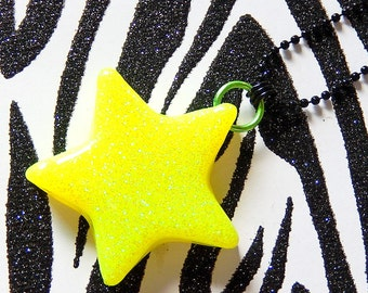 Yellow Star Necklace, Neon Resin Pendant, Glitter Rave Star Jewelry