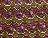 African print, Ethnic fabric by the yard, Olive green and Pink Ankara print, Nigerian fabric, Wax print, Cotton print, Dressmaking fabric