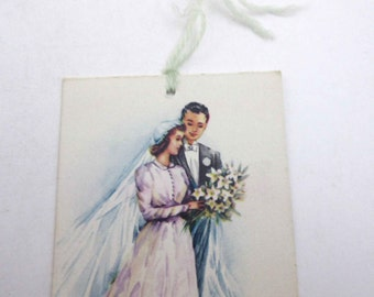 Vintage Bridge Tally with Beautiful Bride and Groom and Bouquet by Gibson