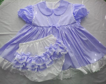 Adult Baby Sissy Faux PURPLE JUMPER Dress Set - Binkies n Bows