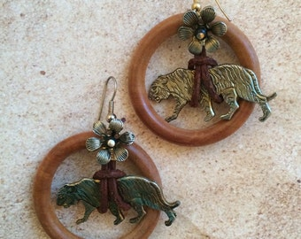 WOOD HOOP flower tied panther charm LEOPARD loop circle ball earrings lightweight divalicious animal wild