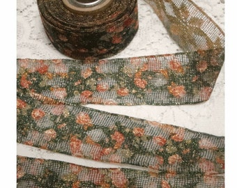 Vintage NET Metallic GOLD Ribbon with ROSES Pattern